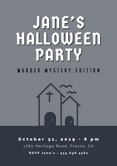 Halloween Murder Mystery Party Invitation Halloween Party Invitation