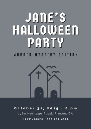 Grey and White Halloween Murder Mystery Party Invitation Halloween Party