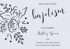 Gray Elegant Floral Baptism Announcement and Invitation Card Baptism