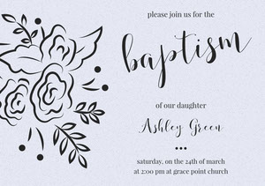 Gray Elegant Floral Baptism Announcement and Invitation Card Invitation de baptême