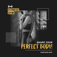 Black and Yellow Fitness Gym Instagram Square Fitness