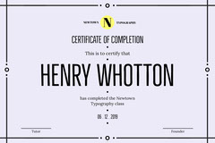 typography certificate of completion  Typography