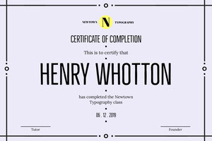 Typography Course Completion Certificate with Border Certificate
