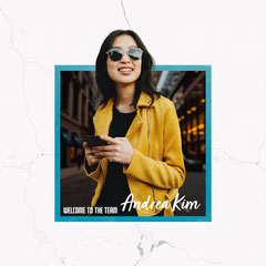 Yellow coat Blur Welcome Andrea Kim IG Square Teams