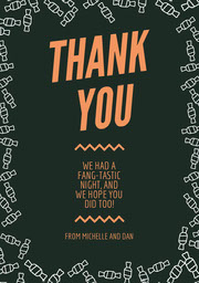 Orange and Black Candy Halloween Party Thank You Card Festa di Halloween
