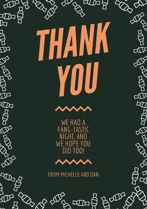 Orange and Black Candy Halloween Party Thank You Card Halloween Party