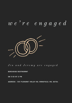 White and Black Engagement Invitation Einladung zur Verlobung