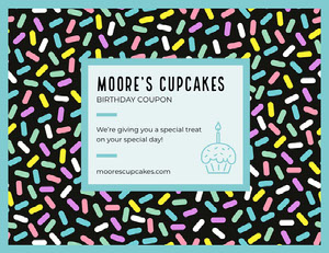 Bakery Birthday Coupon with Sprinkles Bon