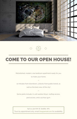 Open House Real Estate Agency Flyer with Modern Bedroom Prospectus immobilier