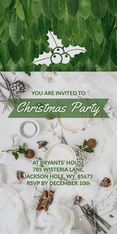 Green and White Christmas Party Invitation with Christmas Holly Christmas