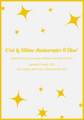C'est Le 50ème Anniversaire D'Élise!  Invitation d'anniversaire