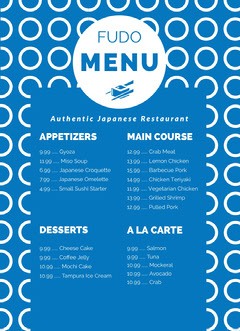 Blue and White Bar Menu Dinner Menu