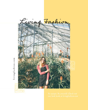 Fashion Collection Instagram Portrait Graphic with Woman in Greenhouse 50 fuentes modernas
