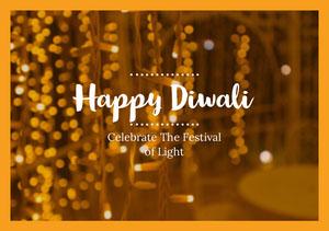 Yellow and Gold Happy Diwali Wishes Card Diwali