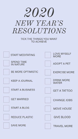 Blue and Grey, Light Toned New Years Resolution Instagram Story Goal-Setting Worksheet