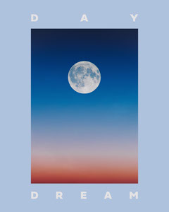 Blue Background Moon Photo Inspirational Daydreaming Instagram Portrait Graphic Moon
