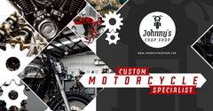 Grey Red Chop Shop Motorcycle Specialist Facebook Cover Workshop