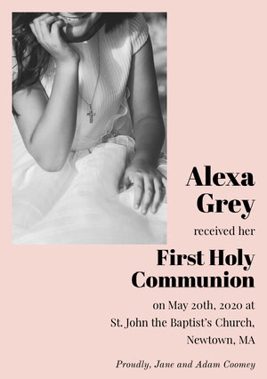 Pink, Black and White First Holy Communion Announcement Card Communion Annoucements