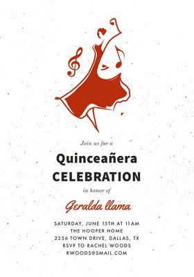 Red Illustrated Quinceanera Birthday Invitation Card Birthday Invitation (Girl)