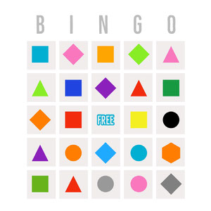White and Colorful Bingo Card Cartazes de jogos