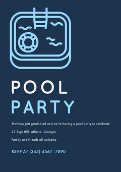 Blue and White Pool Party Invitation Party