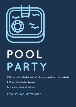 Blue and White Pool Party Invitation Invitación de fiesta
