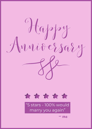 Violet and Pink Happy Anniversary Card Biglietto di anniversario