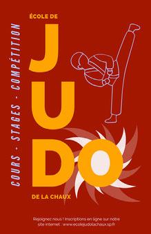 Red Judo School Poster Affiche