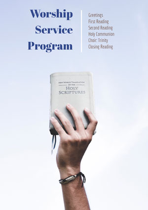 Blue and White Worship Service Program Flyer Aankondiging