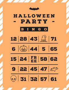 Orange, White and Black, Halloween Party Bingo Card Halloween Party Bingo Card