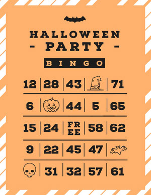 Halloween Pumpkin Bat Party BingoCard Bingokort