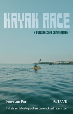 Blue Fundraising Kayak Race Competition Event Poster with Kayaker Fundraiser