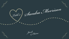 navy heart wedding place card Heart