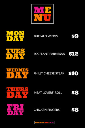 Fun Black Weekly Menu Weekly Menu