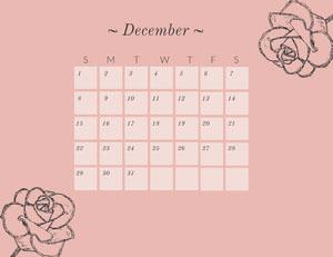 Pink Floral December Calendar Calendarios