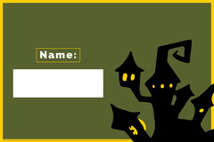 Green Haunted House Halloween Party Name Tag Halloween Party Name Tag