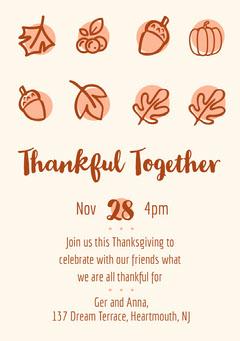 Brown Illustrated Thanksgiving Dinner Invitation Card Thanksgiving