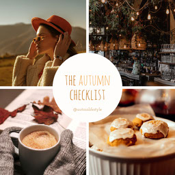 orange white autumn checklist cosy collage blog instagram square