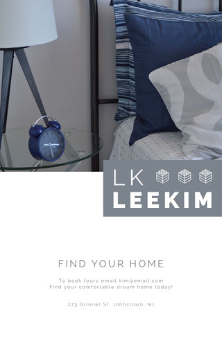 Real Estate Agency House Flyer with Bed Kiinteistö