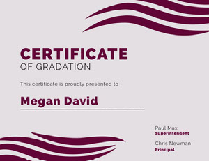 Pink Modern Decorative High School Graduation Certificate Certificat