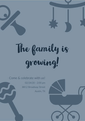 The family is growing! Baby Shower Thank You Card
