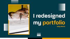 white blue yellow art portfolio redesign drawing YouTube thumbnail  Career Poster