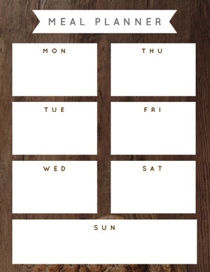 Brown and White Empty Meal Planner Menu de la semaine