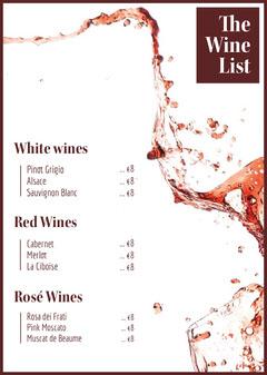Red Splashing Wine Menu Restaurants