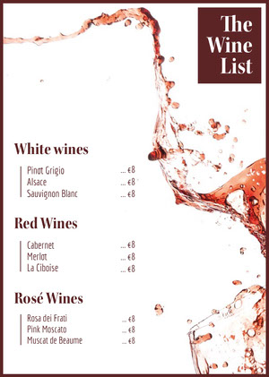 Red Splashing Wine Menu Menú