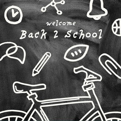 Black and White Chalkboard Welcome Back 2 School Instagram Square Classroom