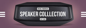 Black White and Violet Speaker Collection Banner Music Banner