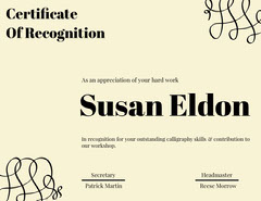 Certificate Of Recognition  Workshop