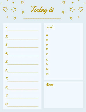Cyan and Gold Daily Planner wiith Stars and To Do List Agenda giornaliera