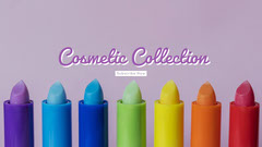 Violet and Colorful Cosmetic Collection Banner Makeup